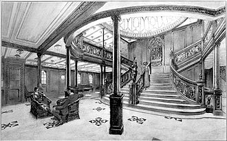 Grand Staircase of the RMS Titanic - Image: Drawing of the Grand Staircase onboard the RMS Titanic from the 1912 promotional booklet