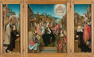 Triptych with the Virgin and Child and saints (centre panel), the donor with St Martin (inner left wing), the donor's wife with St Cunera (inner right wing) and the Annunciation (outer wings)