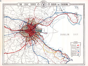 "Dublin tramways - Trams as Dublin's main form of transport - early 1920s, with detail of all tram routes, fares and zones, times to stops, and the long-distance lines, several kilometers out from the city, as well as the very few bus routes, and the ""heavy"" rail system"