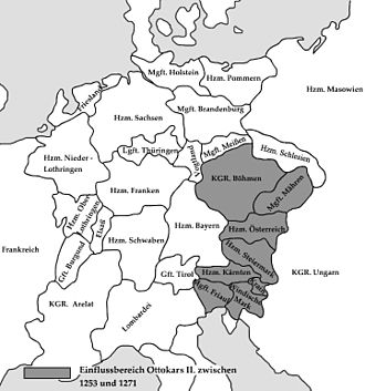 Přemyslid dynasty - Maximum extent of the kingdom under Ottokar II, c. 1276