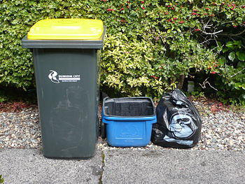 Kerbside collection bins in Dunedin, New Zeala...
