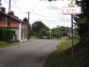 Dury (Aisne) city limit sign.JPG