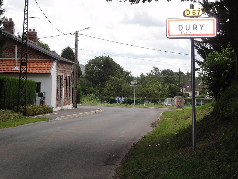 Dury (Aisne) city limit sign