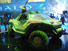An image of the Warthog prop used in Forward Unto Dawn, a four-wheel-drive, off-road vehicle with a mounted minigun.