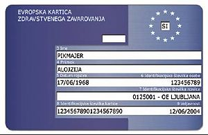 European Health Insurance Card - Slovenian card