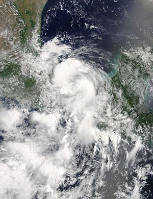 Hurricane Earl (2016) - Tropical Storm Earl near its second landfall on August 5