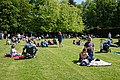 Easton Lodge Gardens open day, Little Easton, Essex - people sitting on croquet lawn.jpg