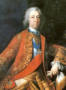 A portrait of Eberhard Louis, in German Eberhard Ludwig, circa 1720. He stands posed and looking at the observer.