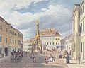 Eduard Gurk - Der Hauptplatz mit dem Ferdinandsbrunnen in Baden bei Wien - 1833.jpeg