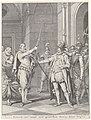 Egmond geeft zijn degen aan Alva, 1567 (..) Ontruk uw' vorst zyn' grootsetn steun, deez' degen (titel op object) Taferelen uit het leven van prins Willem I, 1568-1584 (serietitel), RP-P-1907-4615.jpg