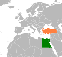 Map indicating locations of Egypt and Turkey