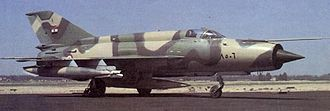 Operation Rimon 20 - An Egyptian MiG-21RF. Soviet aircraft in Egypt carried Egyptian Air Force markings.
