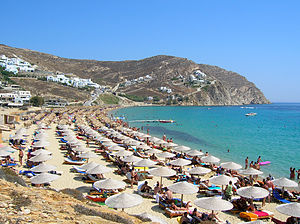 Elias Beach on the Greek Island of Mykonos tak...