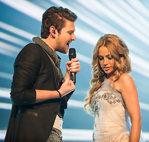 Ell & Nikki, Eurovision Song Contest 2012, semi-final allocation draw.jpg