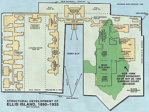 Karte Ellis Island 1890 - 1935 NPS map