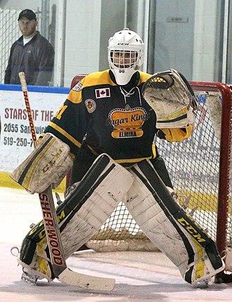 Elmira Sugar Kings - Sugar Kings goalie, Jonathan Reinhart, during 2015 playoffs.