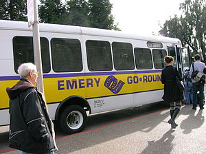Emery Go-Round - An Emery Go-Round bus at MacArthur BART Station.