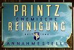 Enamel advertising sign, Printz chemische Reinigung.JPG