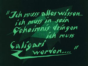 The Cabinet of Dr. Caligari - The Cabinet of Dr. Caligari used stylised intertitles.