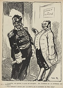 Desenho monocromático de um general sendo recusado a entrada no gabinete do ministro por um servo.