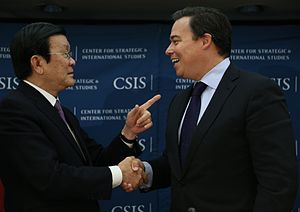 Center for Strategic and International Studies - Ernest Bower, chair of the CSIS Southeast Asia Studies, with Vietnamese President Trương Tấn Sang