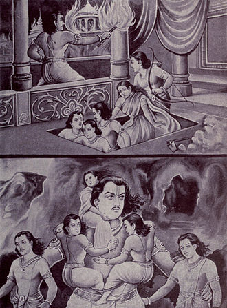 Adi Parva - Adi Parva describes the escape of virtuous Pandavas from the flammable home built by and set ablaze by evil king Dhritarashtra. Bhima, the giant brother, carries his youngest brothers through smoke.