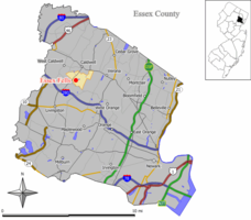 Map of Essex Fells in Essex County. Inset: Location of Essex County highlighted in the State of New Jersey.