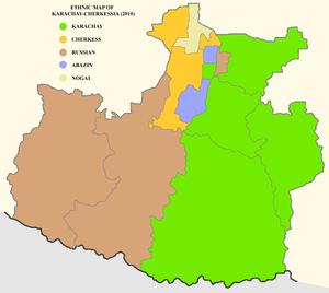 Karachay-Cherkessia - Ethnic map of Karachay Cherkessia, 2010