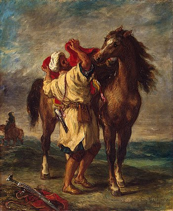 A Moroccan with his Arabian horse along the Barbary coast. Eugene Ferdinand Victor Delacroix 025.jpg