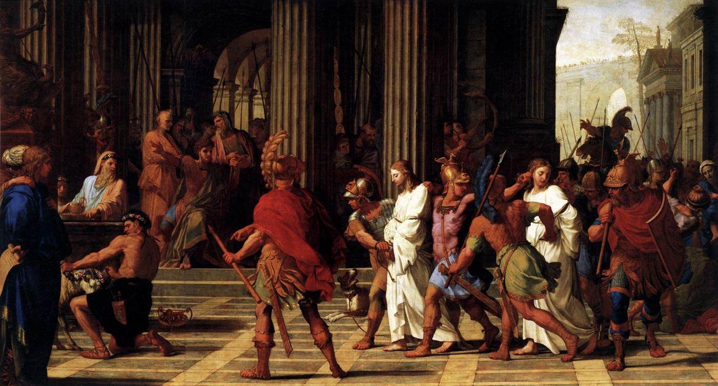 Saint Gervais et saint Protais amenés devant Astasius refusent de sacrifier à Jupiter