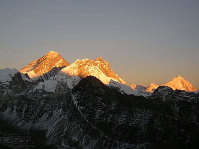 Everest Lhotse Makalu sunset