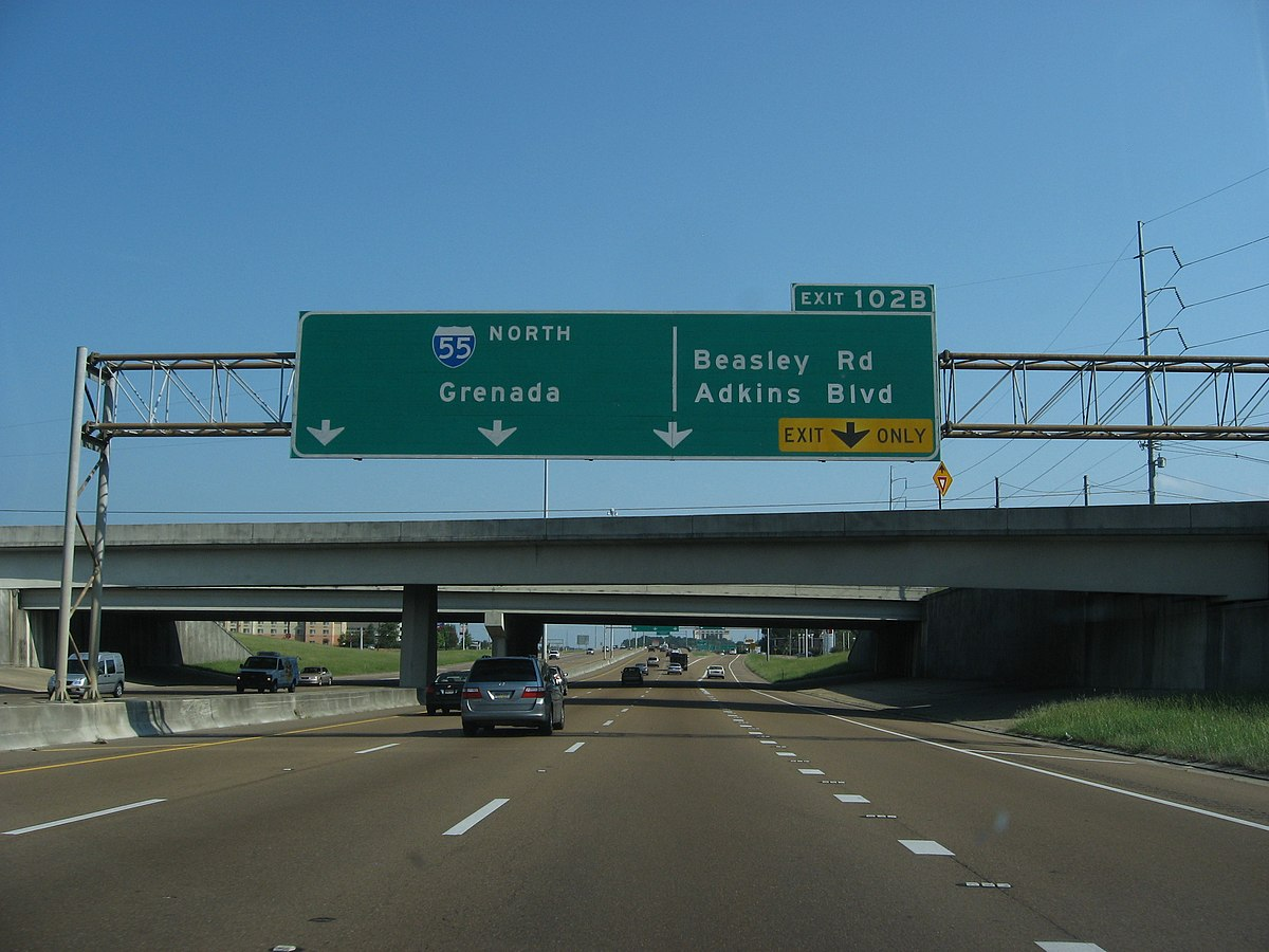 Exit 102B, Exits 98A-C, Interstate 55 Northbound, Jackson, Mississippi (3933447678).jpg