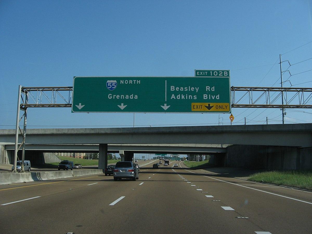 Exit 102B, Exits 98A-C, Interstate 55 Northbound, Jackson, Mississippi (3933447678).jpg
