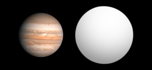Size comparison of Jupiter and the exoplanet TrES-3b