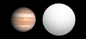 TrES-3b - Size comparison of TrES-3 with Jupiter.