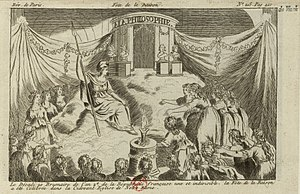 "Dechristianization of France during the French Revolution - ''Fête de la Raison'' (""Festival of Reason""), Notre Dame, Paris, 10 November 1793"