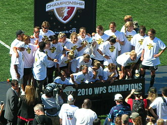 Christine Sinclair - Sinclair (far right) with FC Gold Pride won the 2010 WPS Championship Trophy