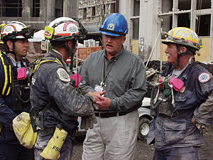 Joe Allbaugh - FEMA Director Joe Allbaugh meets with Florida US&R Task Force 2 at the World Trade Center on September 24, 2001.
