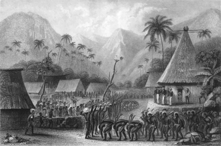 The first Europeans to land and live among the Fijians were shipwrecked sailors like Charles Savage. FIJI CLUB DANCE.png