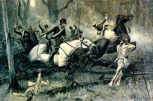A R.F. Zogbaum scene of the Battle of Fallen Timbers includes Indians taking aim as cavalry soldiers charge with raised swords and one soldier is shot and loses his mount.
