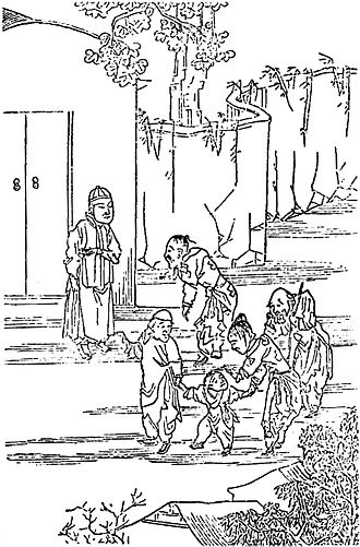 Child-selling - Parents selling their children during the Northern Chinese Famine of 1876–79, drawn 1878