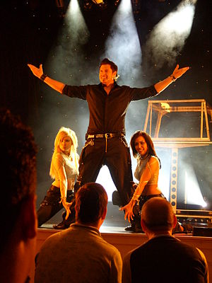 Magician's assistant - Sabrina and Vanessa with illusionist Christian Farla