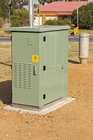 National Broadband Network - Fibre to the node cabinet, located near a Distribution Area pillar.