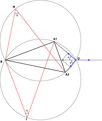 Weber problem - Tellier's geometrical solution of the attraction-repulsion triangle problem.