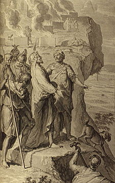Figures Balaam blessing the Israelites