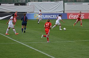 Turkey women's national football team - Turkey attacking Belarus with Bilgin Defterli on September 17, 2014.