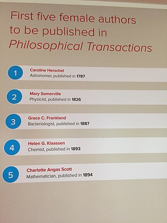Philosophical Transactions of the Royal Society - In 1787, Caroline Herschel became the first woman published in the journal and the only one in the 18th century, Publishing 350 Exhibit, 2015
