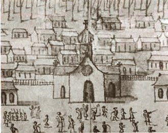 Roman Catholic Archdiocese of New Orleans - Detail of 1726 sketch of New Orleans, showing the Parish Church of St. Louis, where the St. Louis Cathedral would later be built.