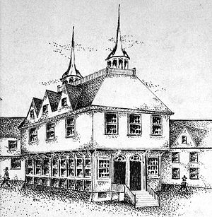 First Town-House, Boston - Conjectural drawing of the First Town-House, King Street, Boston