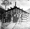 Five men in front of the Canadian police headquarters, Skagway, Alaska, circa 1910 (AL+CA 5987).jpg